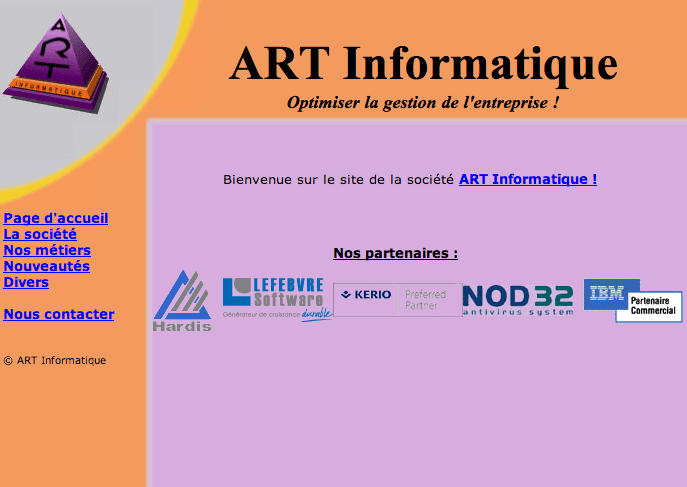 Site Web ART Informatique avant refonte