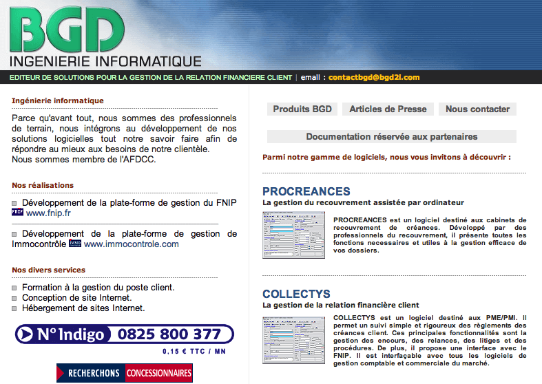 Ancien site web - editeur de logiciel BGD - refonte web marketing